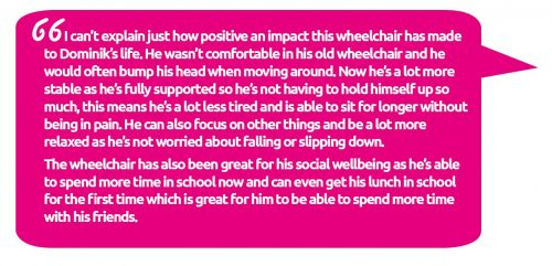 Dominik's dad speaks about how funding for the wheelchair has made a difference to Dominik's life
