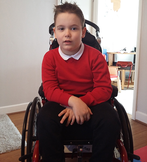 Domini in his new Kudu manual wheelchair