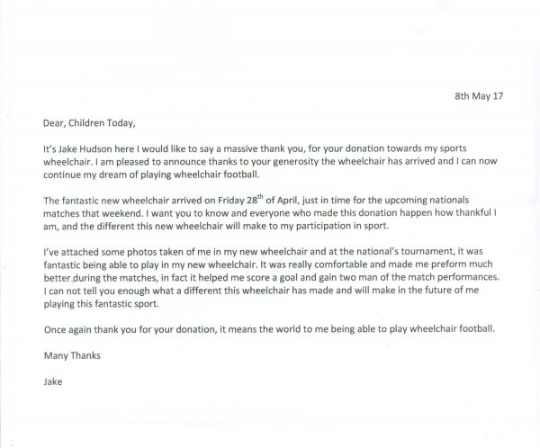 Thank you letter from Jake after receiving funding for his sports wheelchair