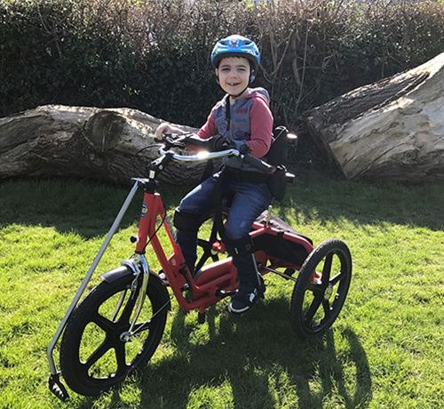 Rhys on his adapted trike