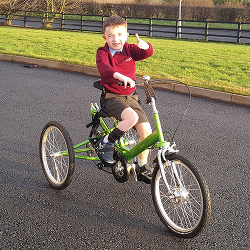John James gives a thumbs up from his special trike!
