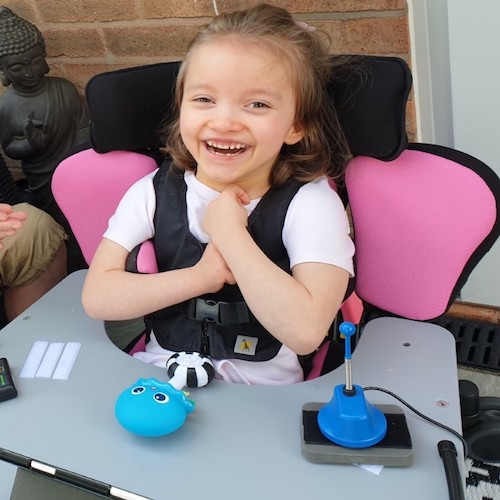 Louisa in her specialised seating system which Children Today funded in full