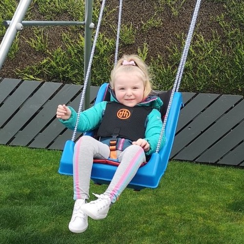 The adapted swing has brought lots of joy, reassurance and ease to Abby and her family