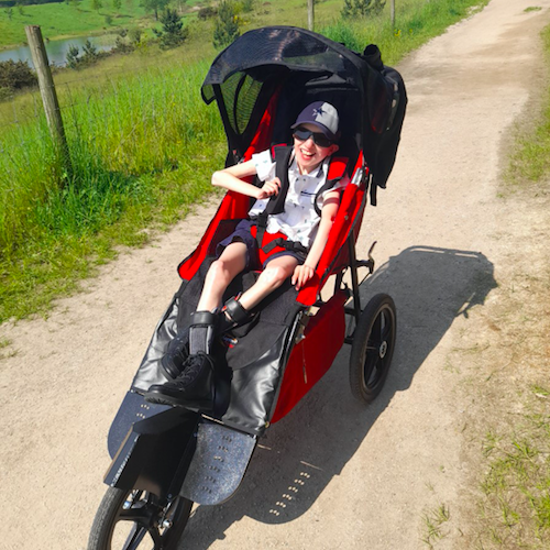 The 17-year-old can now enjoy longer days out and experience difference sights with his three-wheeled buggy