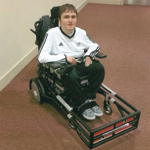 Jake in his new sports wheelchair
